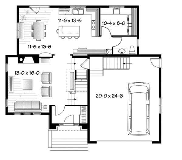 European Floor Plan - Main Floor Plan Plan #23-2579
