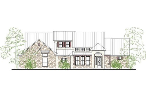 Country Exterior - Front Elevation Plan #80-190