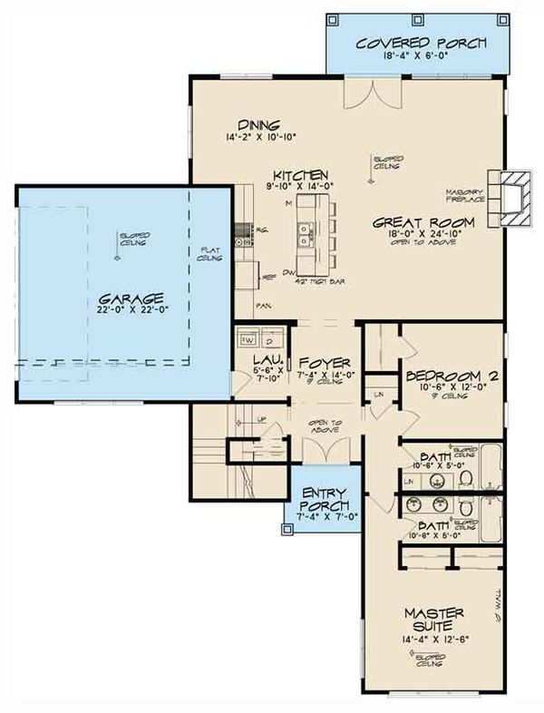 Contemporary Floor Plan - Main Floor Plan Plan #17-3384