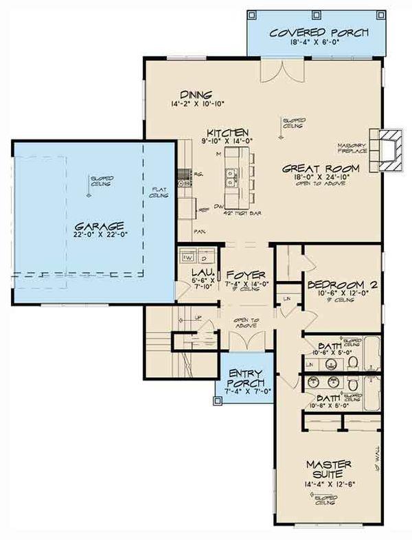 Contemporary Floor Plan - Main Floor Plan Plan #17-3384