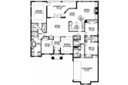 Mediterranean Style House Plan - 3 Beds 2.5 Baths 2468 Sq/Ft Plan #1058-125 Floor Plan - Main Floor Plan