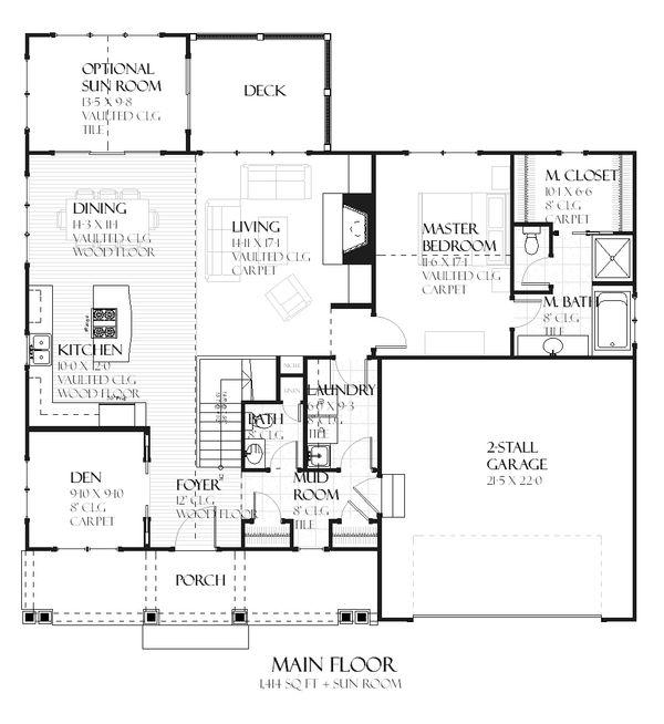 Craftsman style house plan, Ranch design, main level floor plan