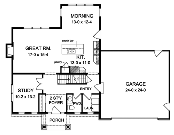 Traditional Floor Plan - Main Floor Plan Plan #1010-143