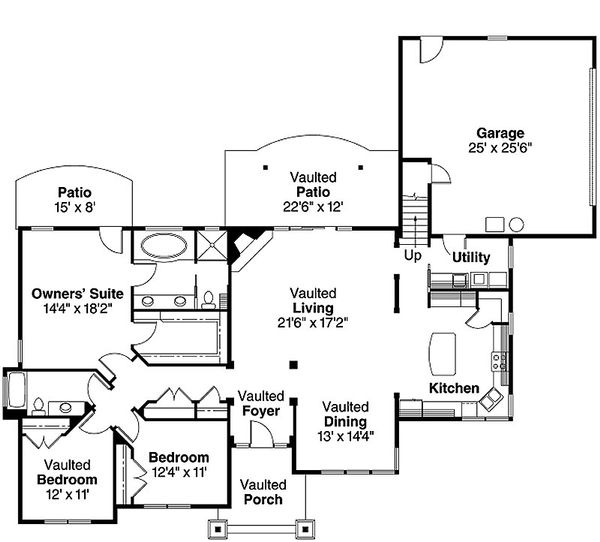 Craftsman Floor Plan - Main Floor Plan Plan #124-583
