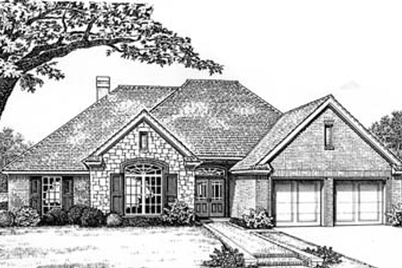 European Style House Plan - 4 Beds 2 Baths 1898 Sq/Ft Plan #310-584 Exterior - Front Elevation