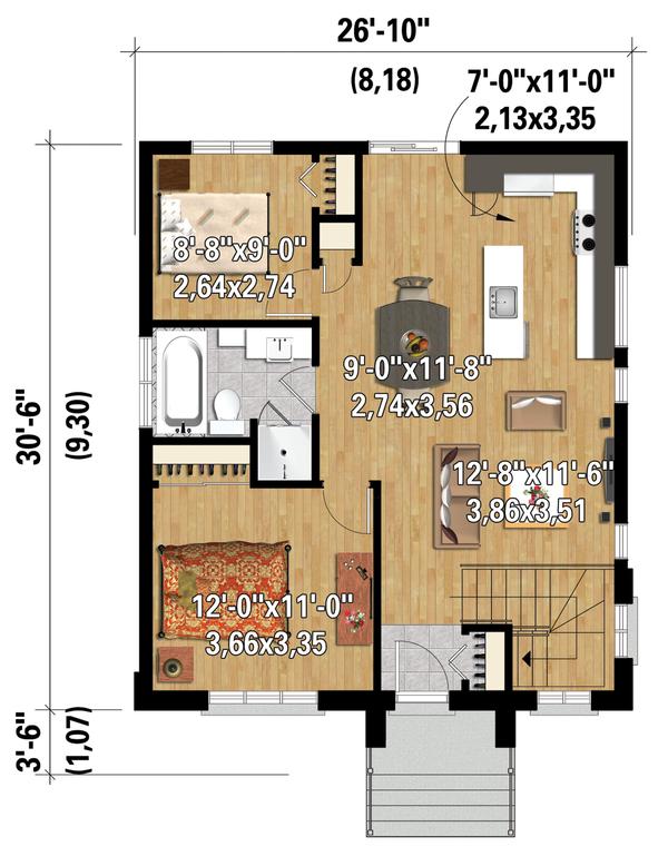 Architectural House Design - Contemporary Floor Plan - Main Floor Plan #25-4268