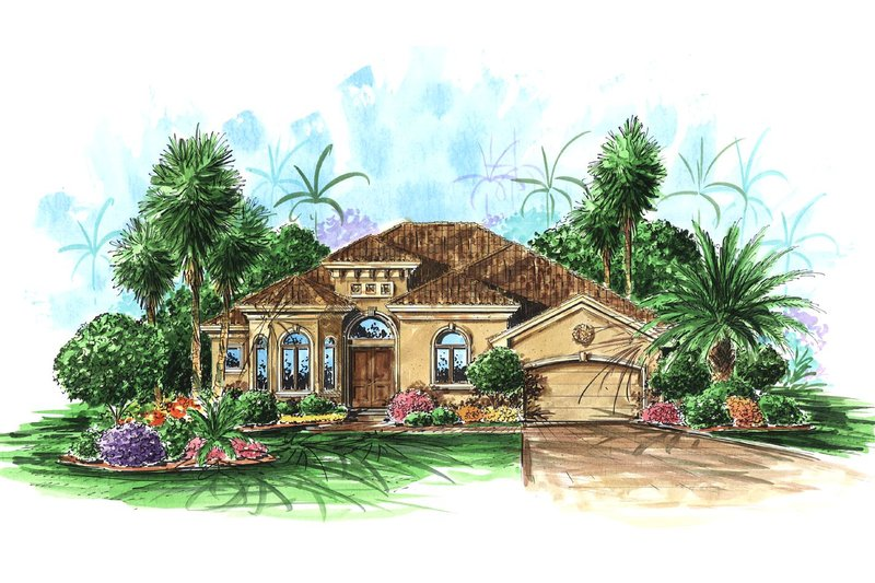 Mediterranean Style House Plan - 4 Beds 3 Baths 2581 Sq/Ft Plan #27-256 Exterior - Front Elevation
