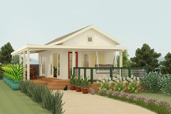 Cottage Exterior - Front Elevation Plan #917-4