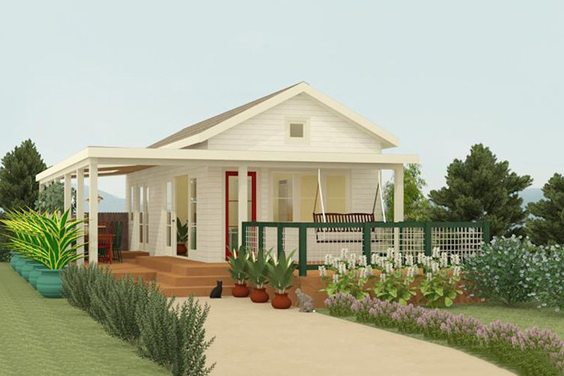 Cottage Style House Plan - 1 Beds 1 Baths 399 Sq/Ft Plan #917-4 Exterior - Front Elevation
