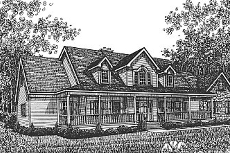 Country Style House Plan - 5 Beds 3.5 Baths 3833 Sq/Ft Plan #12-206 Exterior - Front Elevation