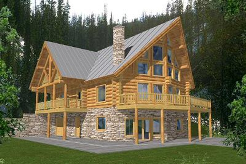 Log Exterior - Front Elevation Plan #117-415