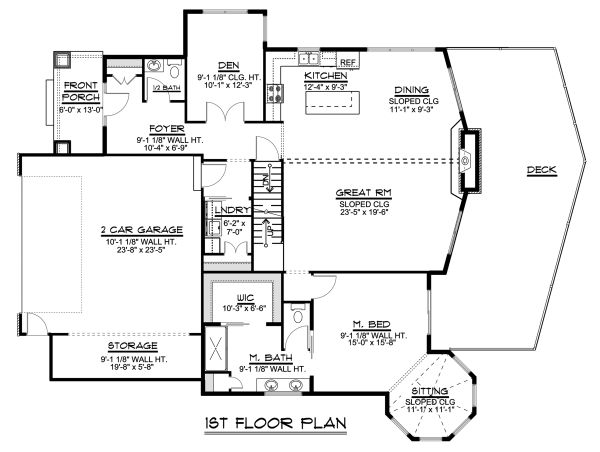 Craftsman Floor Plan - Main Floor Plan Plan #1064-11