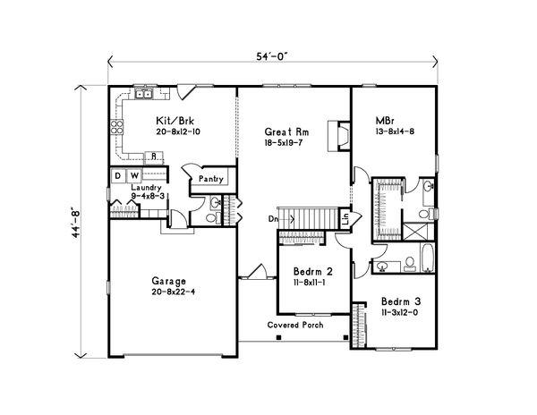 Home Plan - Ranch Floor Plan - Main Floor Plan #22-581