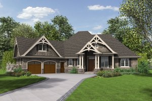 House Plan Design - Front view - 2200 square foot Craftsman home