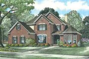 European Style House Plan - 5 Beds 3 Baths 2585 Sq/Ft Plan #17-646 Exterior - Front Elevation