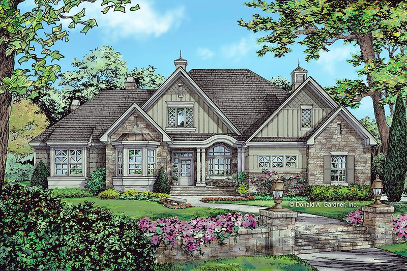 European Style House Plan - 4 Beds 3 Baths 2453 Sq/Ft Plan #929-1056 Exterior - Front Elevation