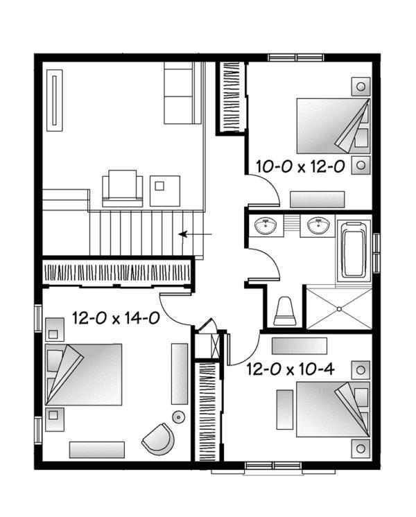 European Floor Plan - Upper Floor Plan Plan #23-2589