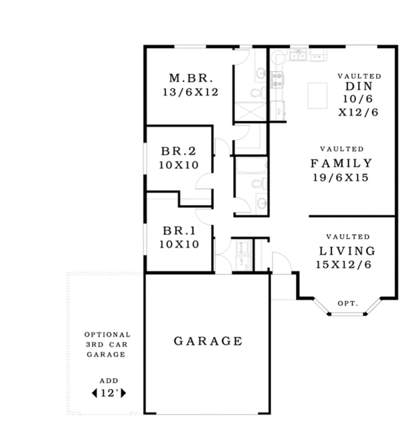 Architectural House Design - Ranch Floor Plan - Main Floor Plan #943-41