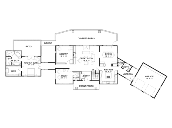 Contemporary Floor Plan - Main Floor Plan Plan #1042-15
