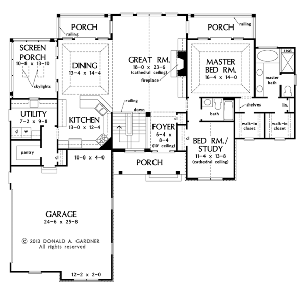 Craftsman Floor Plan - Main Floor Plan Plan #929-968