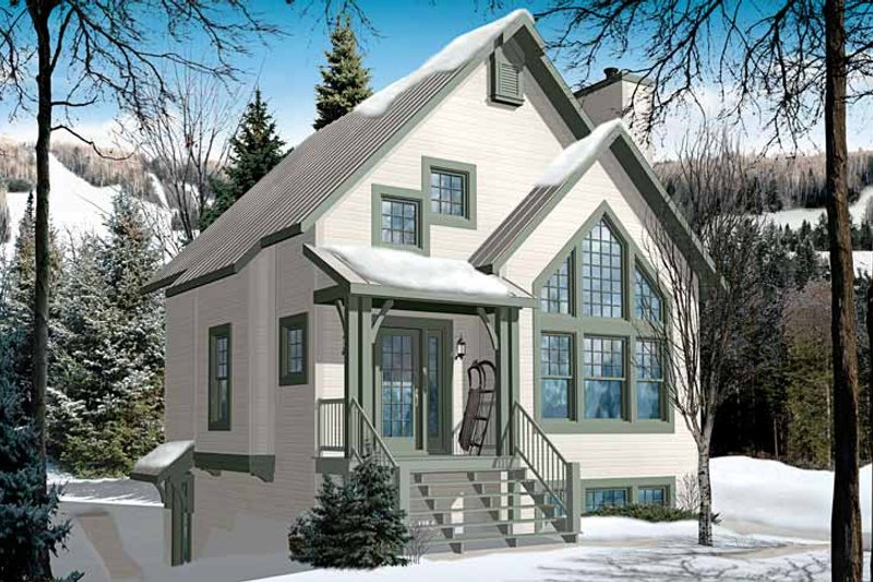 European Exterior - Front Elevation Plan #23-2490