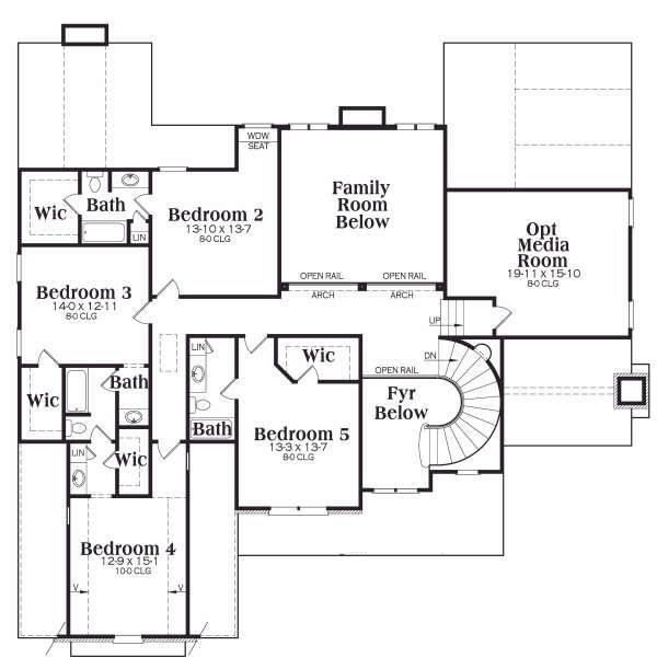 Traditional Floor Plan - Upper Floor Plan Plan #419-174