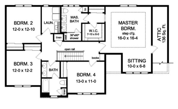 Colonial Floor Plan - Upper Floor Plan Plan #1010-92