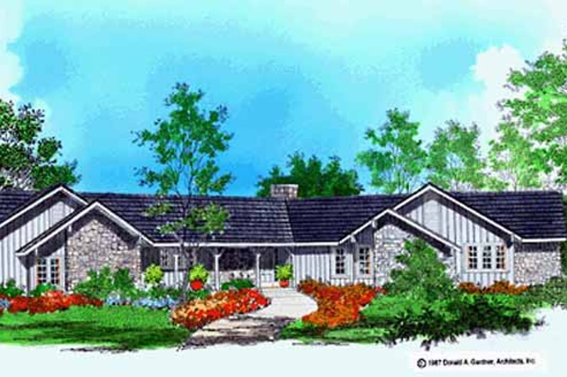 Ranch Exterior - Front Elevation Plan #929-62