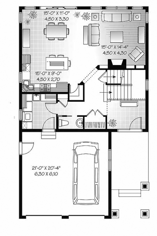 Craftsman Floor Plan - Main Floor Plan Plan #23-2483