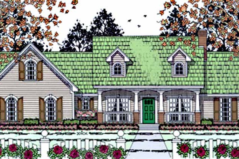 Architectural House Design - Country Exterior - Front Elevation Plan #42-676