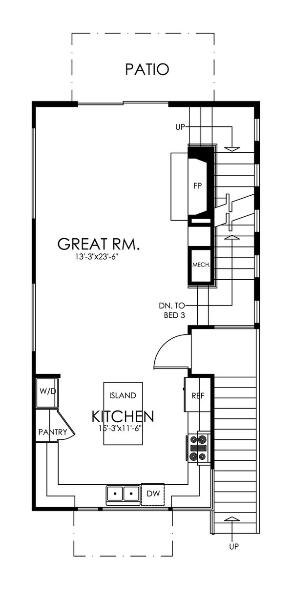 Traditional Style House Plan - 3 Beds 3 Baths 1505 Sq/Ft Plan #484-13 Floor Plan - Main Floor Plan