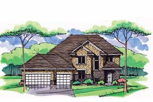 Colonial Exterior - Front Elevation Plan #51-1003