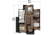 Contemporary Style House Plan - 4 Beds 1 Baths 1863 Sq/Ft Plan #25-4607