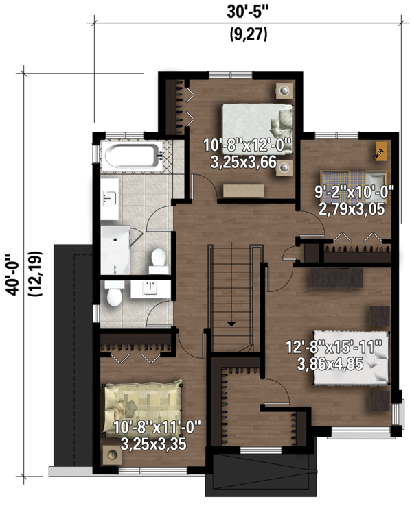 Contemporary Floor Plan - Upper Floor Plan #25-4607