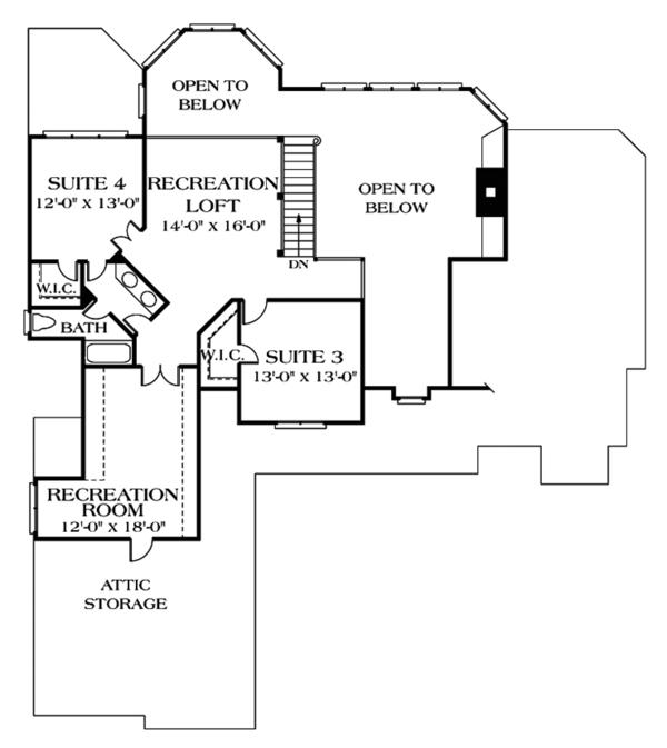 Traditional Floor Plan - Upper Floor Plan Plan #453-349