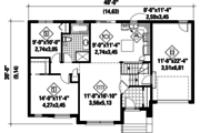 Contemporary Style House Plan - 2 Beds 1 Baths 1019 Sq/Ft Plan #25-4273 Floor Plan - Main Floor Plan