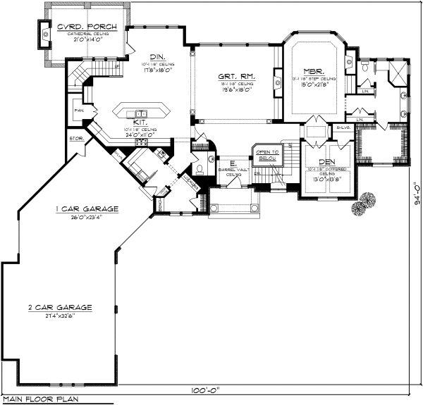 European Floor Plan - Main Floor Plan Plan #70-1129