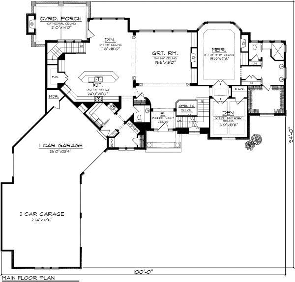 Architectural House Design - European Floor Plan - Main Floor Plan #70-1129