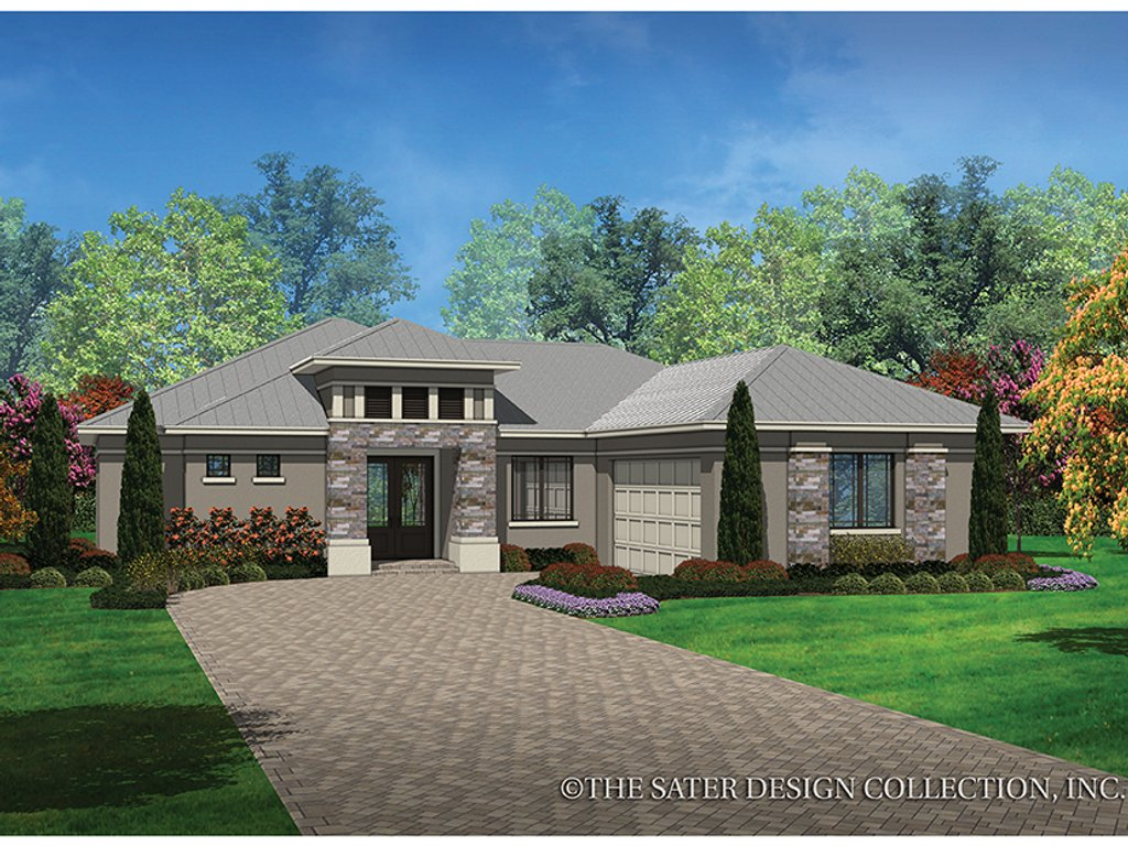 Contemporary Style House Plan - 3 Beds 2 Baths 1808 Sq/Ft