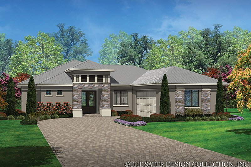 Contemporary Style House Plan - 3 Beds 2 Baths 1808 Sq/Ft Plan #930-451 Exterior - Front Elevation