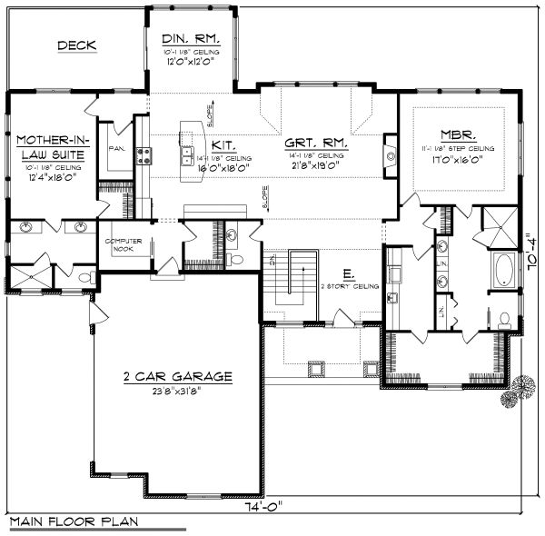 Ranch Floor Plan - Main Floor Plan Plan #70-1175
