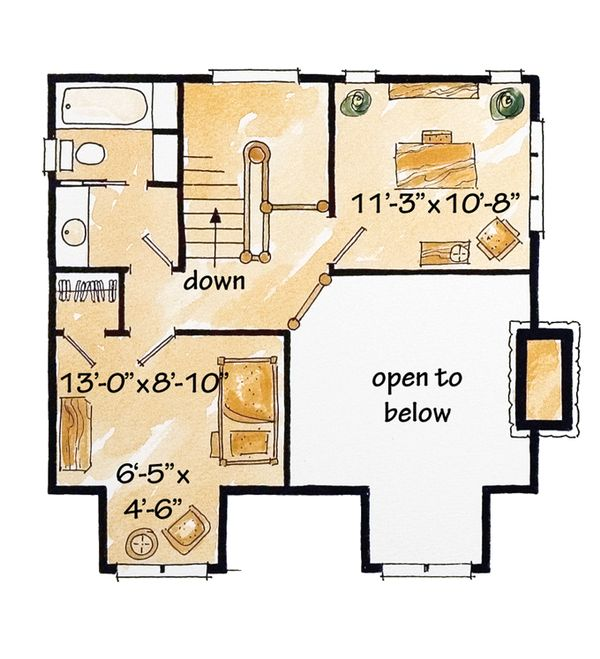 Cabin Floor Plan - Upper Floor Plan Plan #942-25