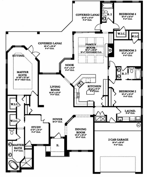 European Floor Plan - Main Floor Plan Plan #1058-130
