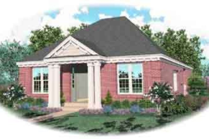 Colonial Style House Plan - 2 Beds 2 Baths 1960 Sq/Ft Plan #81-551 Exterior - Front Elevation