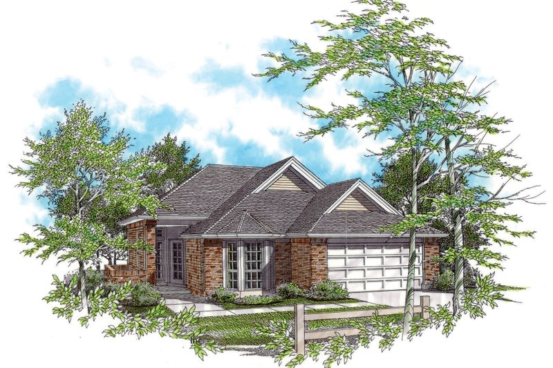 Ranch Style House Plan - 3 Beds 2 Baths 1295 Sq/Ft Plan #48-583 Exterior - Front Elevation