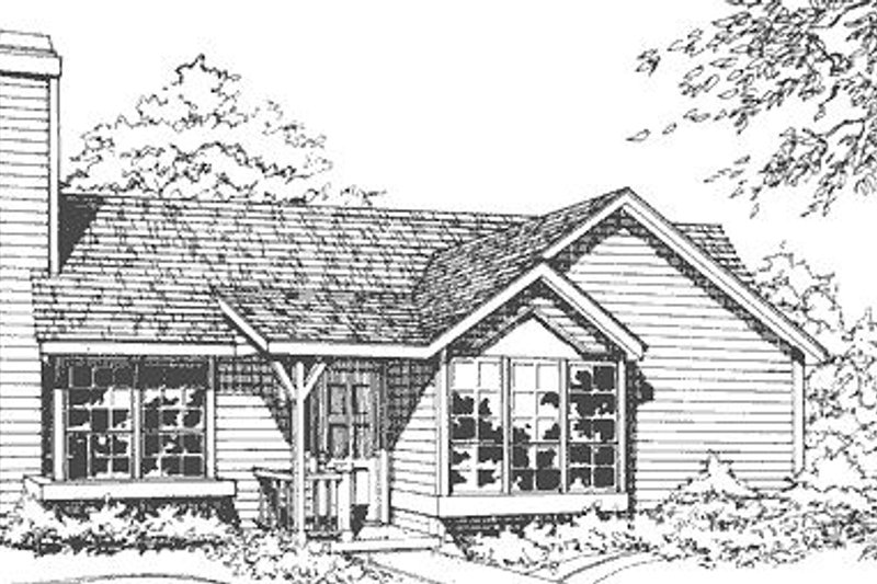 Traditional Style House Plan - 3 Beds 2 Baths 1016 Sq/Ft Plan #320-103 Exterior - Front Elevation