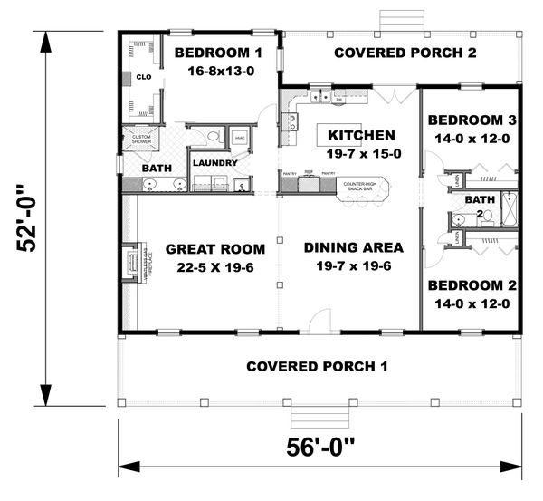 Architectural House Design - Traditional Floor Plan - Main Floor Plan #44-250