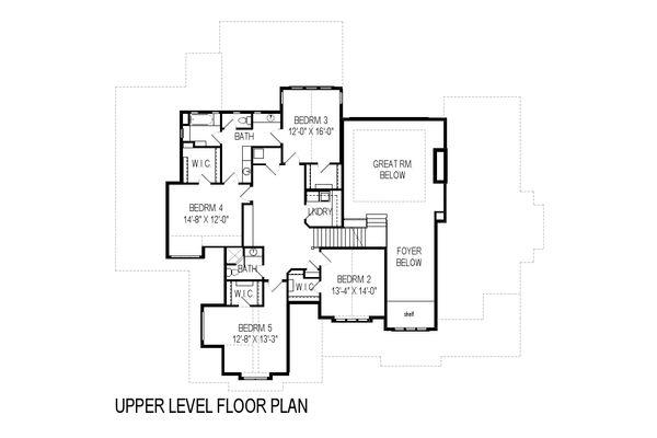 Craftsman Style House Plan - 5 Beds 3.5 Baths 7755 Sq/Ft Plan #920-1 Floor Plan - Upper Floor Plan