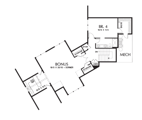 Craftsman Floor Plan - Upper Floor Plan Plan #48-711