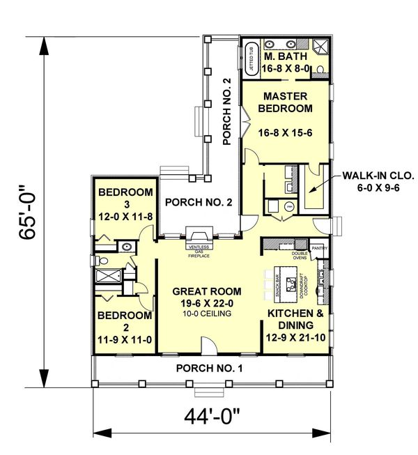 Ranch Floor Plan - Main Floor Plan Plan #44-101